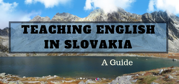 Cover post for teaching English in Slovakia blog post, name over a picture of mountains